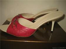 $395 New GUCCI US 9 EU 39.5 GG Logo Dark Pink Leather Slides Heels Sandals Shoes