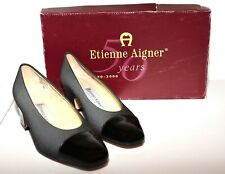 Etienne Aigner Time Gray Fabric Black Patent Leather Cap Toe Low Heels 5M NIB