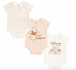 DISNEY Winnie the Pooh and Friends Baby Body Suits, Set of 3- 0-3 months **NEW**