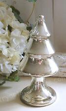 Tannenbaum, Bauernsilber,Glas Silber, Silberglas, Brocante, 21 cm