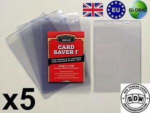 NEW x 5 Cardboard Gold Card Savers I 1 PSA Grading Submission Plastic Semi Rigid