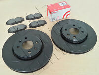 FOR CLIO SPORT 172 182 FRONT BLACK 12 GROOVED PERFORMANCE BRAKE DISCS BREMBO PAD