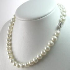 "8mm AAA+ White South Sea Shell Pearl Necklace 18"" LL033"