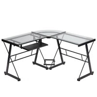 Computer Desk L Shaped Desk Glass Office Writing Furniture With Keyboard Tray