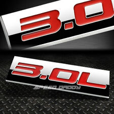 METAL GRILL TRUNK EMBLEM DECAL LOGO TRIM BADGE POLISHED CHROME RED 3.0L 3.0 L