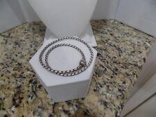 """Authentic Pandora Silver Brown Leather Double Wrap Bracelet 14"""" Barrel Clasp"""