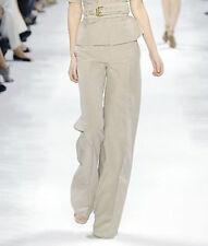 STELLA McCARTNEY $800 tan linen and cotton wide baggy leg runway pants 38/2 NEW