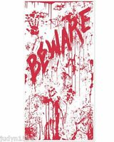 HALLOWEEN HORROR BLOODY BEWARE DOOR COVER PARTY DECORATION POSTER HANDPRINTS