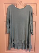 Ladies Bellamie Size M Blue Knit soft Pullover Top/Tunic with ruffle