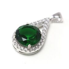Green Spinel Cubic Zircon 925 Sterling Silver Gemstones Jewelry Necklace Pendant