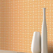 Papel Pintado Rasch De Lujo Retro Geométrico Estampado Blanco & Naranja 277210
