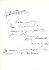 WILLY BURMESTER Violinist autographed music quote & photo, signed also by others