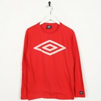 Vintage Women's UMBRO Big Graphic Logo Long Sleeve T Shirt Tee Red | UK 16