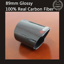 Real Carbon Fiber Car Auto Exhaust Muffler Pipe Tip Cover Outlet 89mm Glossy
