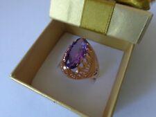 Vintage Soviet Rose Gold Ring 14K 583 Amethyst Size 8.75 (18.75 mm) Russian USSR