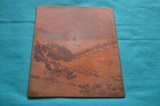 D. Rouvière matrice de gravure en cuivre pour eau forte, berger et troupeau