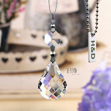 5 Crystal Prisms Lamp Lighting Part Chandelier Hanging Drop Silver Pins Decor