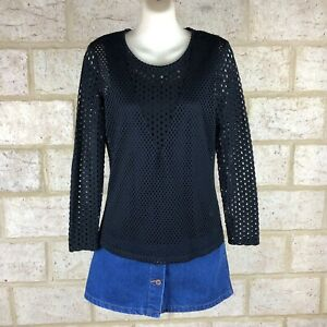 Table Eight Black Mesh Long Sleeve Blouse Top Shirt Size S, 10 Work Career Cami