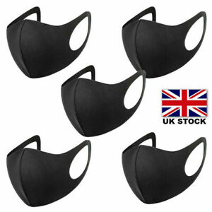 Pack of 5 Face Mask Reusable Washable Breathable Unisex Mouth Protection UK