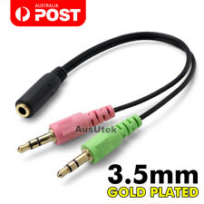AUX Mic Audio Splitter Cable Earphone Headphone Adapter Female To 2 Male 3.5mm