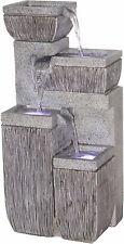 4-Stufiger Gartenbrunnen mit LED Beleuchtung Springbrunnen Brunnen Steinoptik