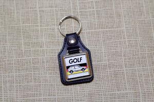 VW Golf Mk1 Keyring - Leatherette & Chrome Keytag