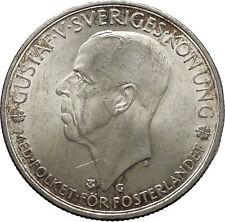1935 King GUSTAF V of Sweden Large Quality Old Silver Coin 3 Kronor i45012