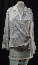 Jones New York B&W Blouse top crossover wrap tie shirt silky dressy XL NEW VTG