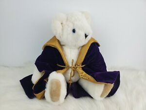 """The Vermont Teddy Bear Company White Holiday Plush Wearing Purple Gold Robe 17"""""""