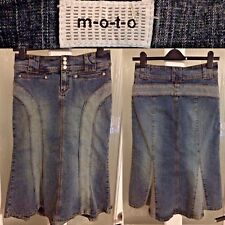 "Topshop Skirt Size 10 Moto Denim Blue Midi Wiggle Button Zip Closure L27.5"""