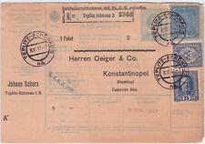 TEPLITZ SCHONAU CZECHOSLOVAKIA 1917 PARCEL CARD TO TURKEY