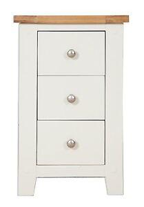 Hobart Ivory/Solid Oak Top 3 Drawer Bedside Cabinet Fully Assembled