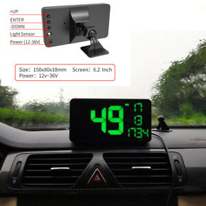 6.2Inch Car HUD Head Up Display GPS Speedometer Overspeed Warning Alarm System