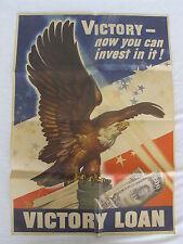 "Original WW2 WWII Victory Bond Loan War Poster Dean Cornwell 26"" x 18.5""    1945"