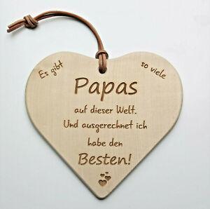 Herz Holz Schild Deko Spruch PAPA Lasergravur Vatertag Geburtstag Geschenk