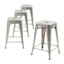 Set of 4 Galvanized 24 Inches  Metal Bar Stools, Indoor, Outdoor, Stackable