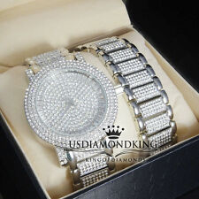 SIMULATED LAB CRYSTAL NEW MENS WATCH & BRACELET SET SILVER OVERLAY ICE OUT BLING