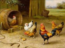 Vintage art Chicks Rooster Barrel by Edgar Hunt