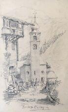 KIRCHE IN CURAGLIA IN DER SCHWEIZ MEDEL GRAUBÜNDEN - UM 1900 18,2 x 11,5 CM