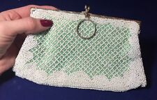 Vintage 1930's French Art Deco Glass Beaded Bag Purse Handbag Flapper