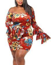 Plus Size Boho Off Shoulder Ruffle Bell Sleeve Bodycon Dress Floral Velvet