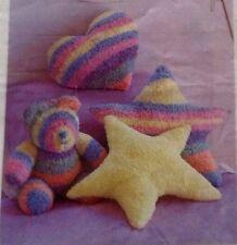 Knitting Pattern Teddy Bear & Cushions Snowflake Chunky