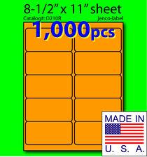 O210R, 1,000 Orange Fluorescent Address Labels, 4x2
