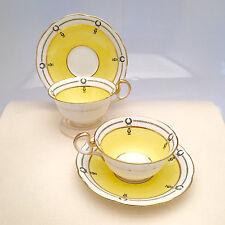 Pair of Art Deco Aynsley Tea Cups & Saucers, Yellow, White w/ Black Laurel