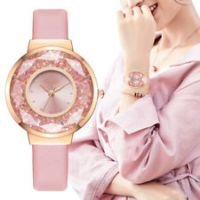 Flowing Crystals Women's Wrist Watch Rose Gold Silver Leather Band Ladies Gift