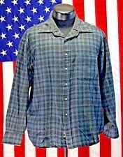 VTG Virgin Wool Pendleton Flannel Plaid XL Lodge Shirt Rockabilly Hipster Blue