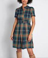 Liza Luxe Women's Plaid Collared Short-Sleeve Shirt Dress (Green, M)