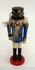 DDR Nussknacker Offizier blau weiß aus Holz Höhe ca. 29,5 cm Vintage