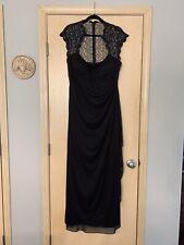 Xscape Black Cap Sleeve Evening Gown Size 18 Sweetheart Neckline, Goddess Drape
