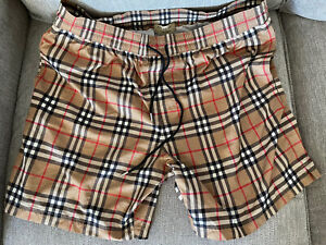 Burberry Men's 350$ Check Drawcord Swim Trunk Shorts Size XL Plaid
